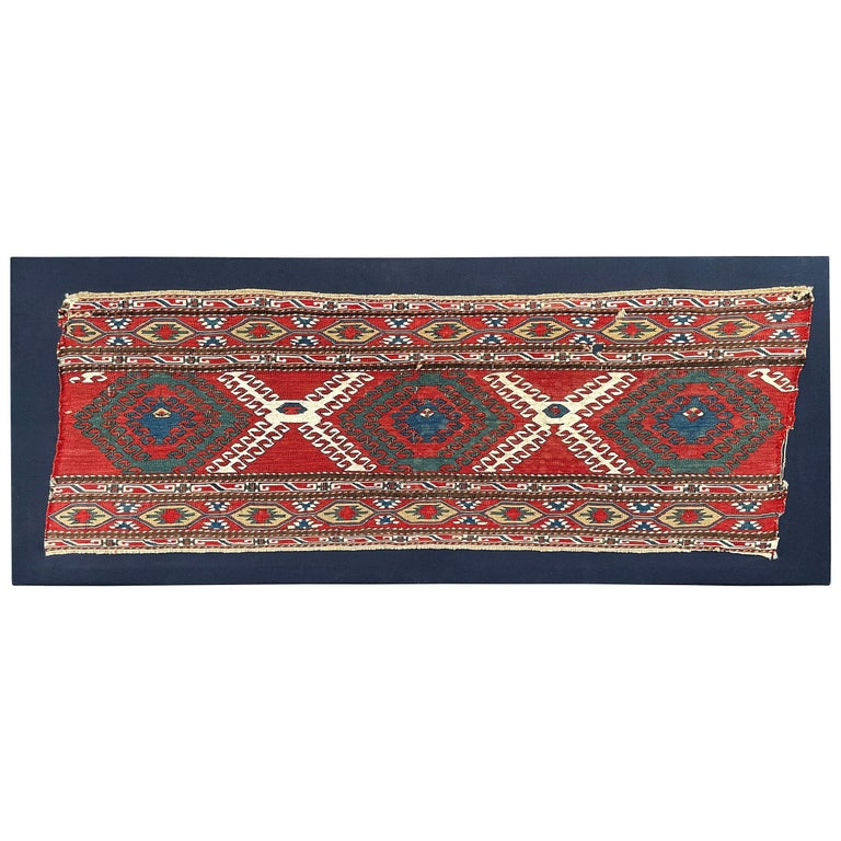 Mounted Early 20th Century Soumak Rug Fragment For Sale