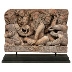 Mounted Indonesian Terracotta Temple Panel