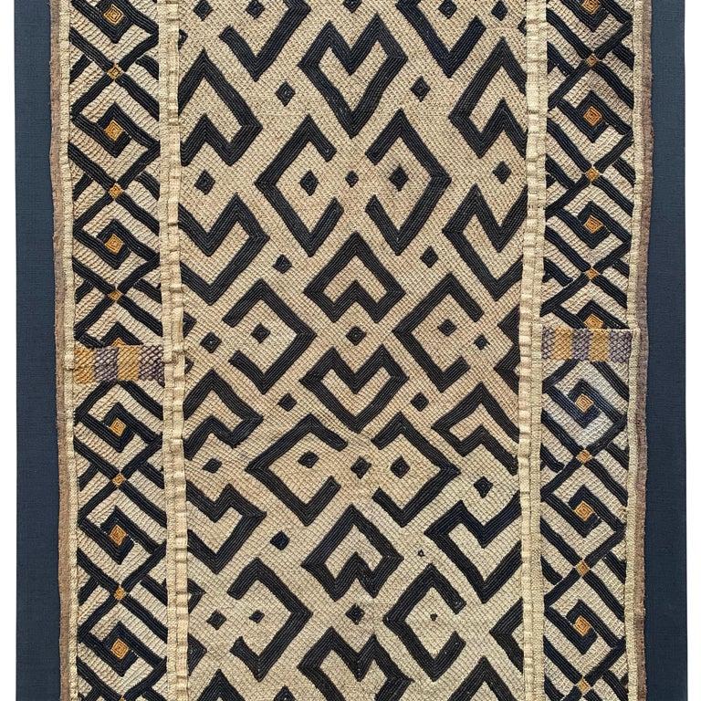 Congolese Mounted Kuba Cloth Panel For Sale