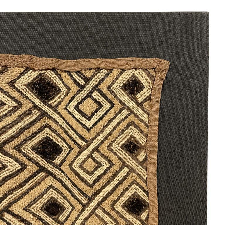 Hand-Woven Mounted Kuba Cloth Panel For Sale