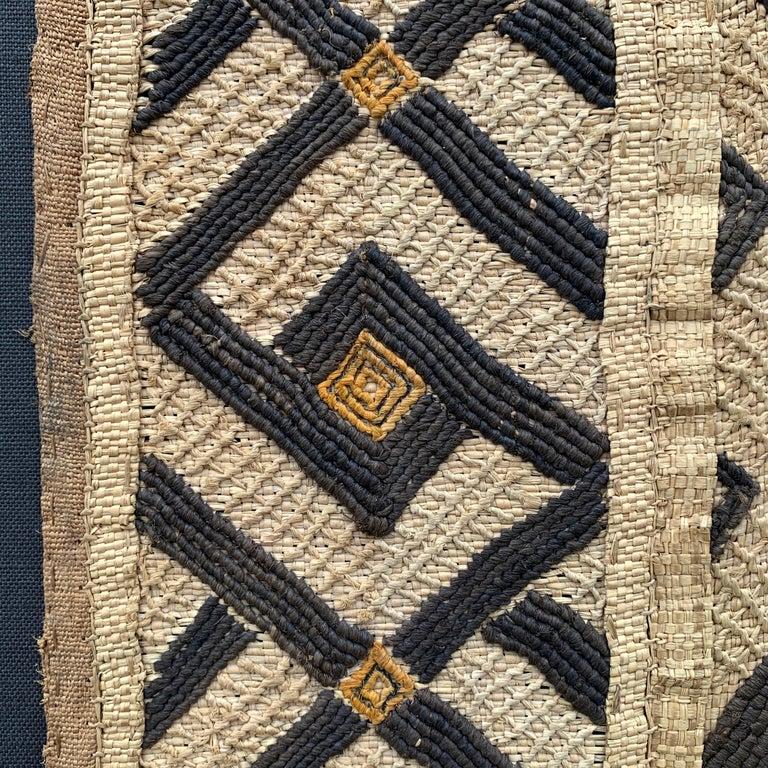 Raffia Mounted Kuba Cloth Panel For Sale