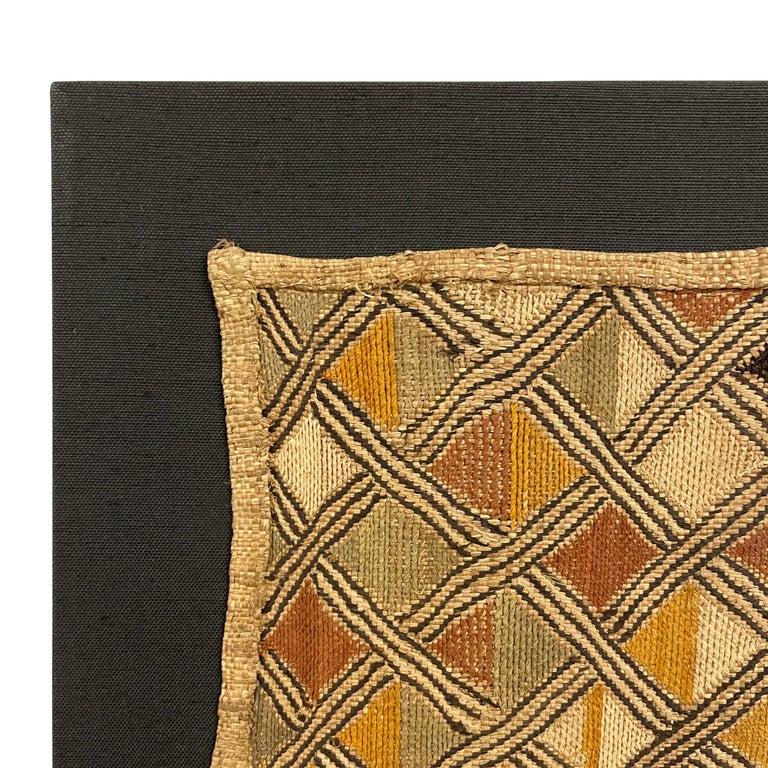 Congolese Mounted Kuba Shoowa Embroidered Cloth For Sale