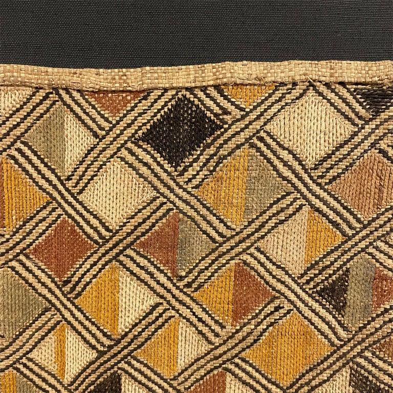 Hand-Woven Mounted Kuba Shoowa Embroidered Cloth For Sale
