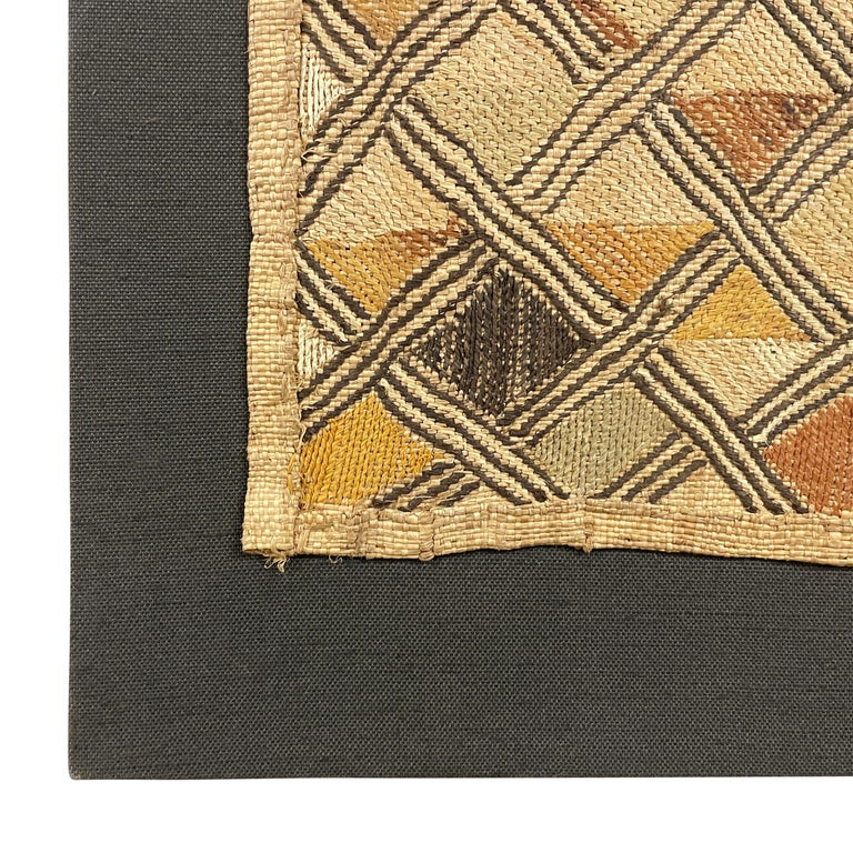 Mounted Kuba Shoowa Embroidered Cloth In Good Condition For Sale In Chicago, IL