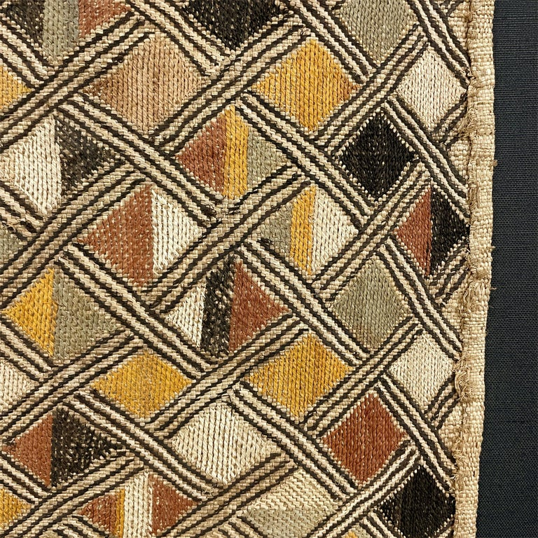 Raffia Mounted Kuba Shoowa Embroidered Cloth For Sale