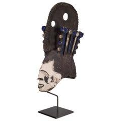 Mounted Nigerian Igbo Painted Mask on Custom Stand