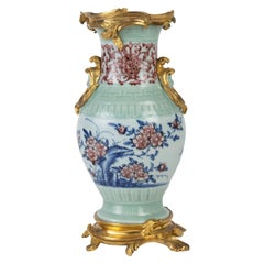 Mounted Porcelain Vase, Gilt Bronze and Chiselled, 18th Century