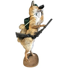 Mounted Taxidermy Hunting Fox with Rifle