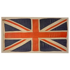 Mounted Vintage British Linen Union Jack Flag