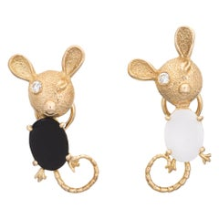 Mouse Earrings Diamond Eyes Vintage 14 Karat Gold Onyx White Agate Jewelry