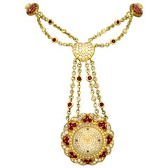 Moussaieff 18 Karat Gold Ladies Necklace Pendant Watch with Diamonds and Rubies