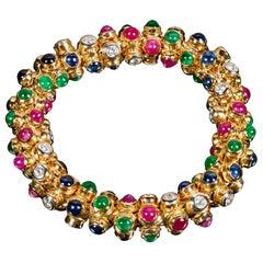 Moussaieff 18 Karat Gold, Diamond, Ruby, Sapphire and Emerald Bracelet