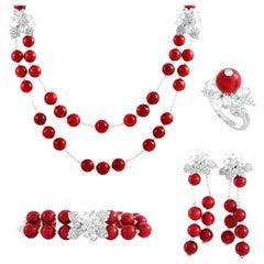Moussaieff Gold 72.59 Carat Diamond & Coral Necklace Bracelet, Earring, Ring Set