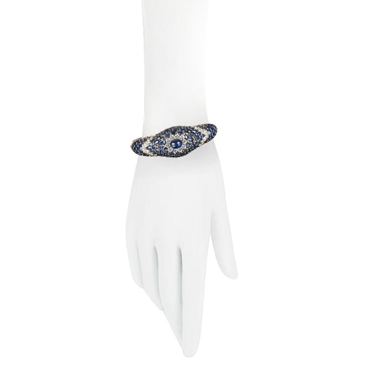 Moussaieff High Jewelry Blue Sapphire and Diamond Bracelet For Sale 1