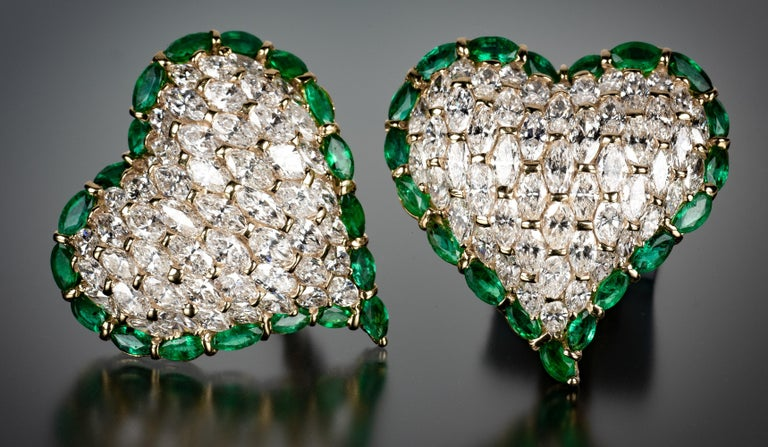 One of the world's most discreet and exclusive jewelry houses, Moussaieff is renowned for its gem expertise and design acumen. In keeping with the Moussaieff tradition of secrecy and scarcity, these one-of-a-kind diamond heart earrings are among the
