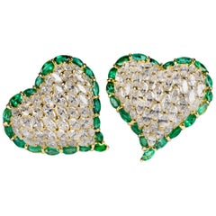 Moussaieff One-of-a-kind Diamond and Emerald Heart Earrings
