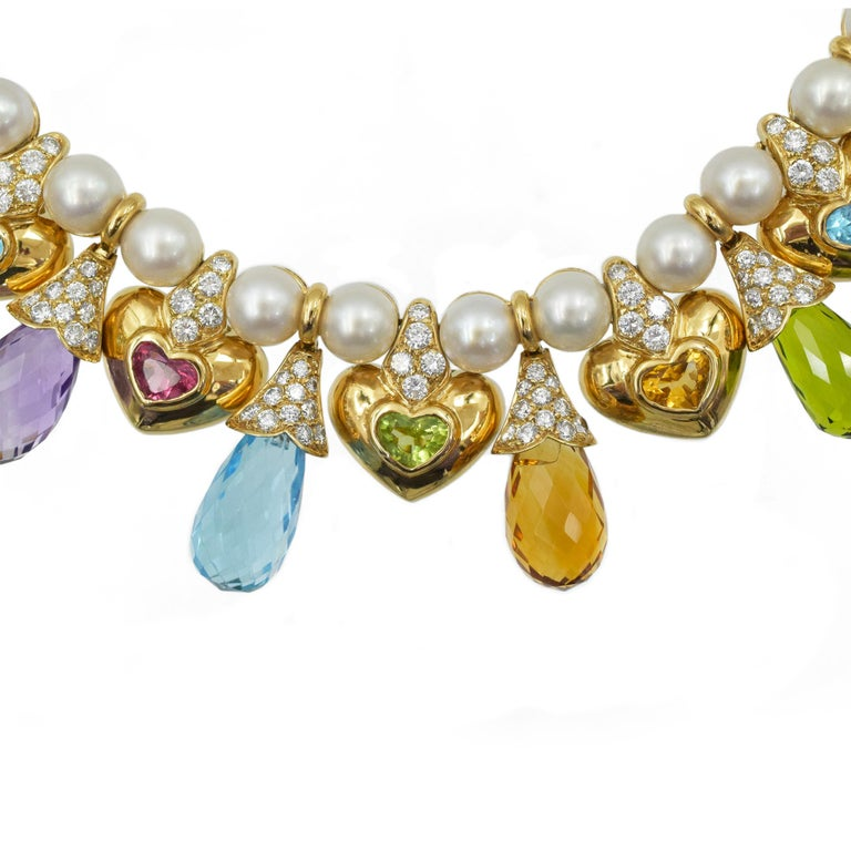 Moussaieff Pearl, Damond and Gemstone Necklace and Earring Set in 18k For Sale 5
