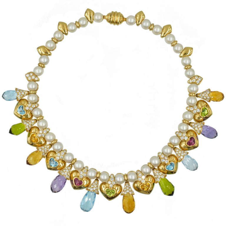 Moussaieff Pearl, Damond and Gemstone Necklace and Earring Set in 18k In Excellent Condition For Sale In New York, NY