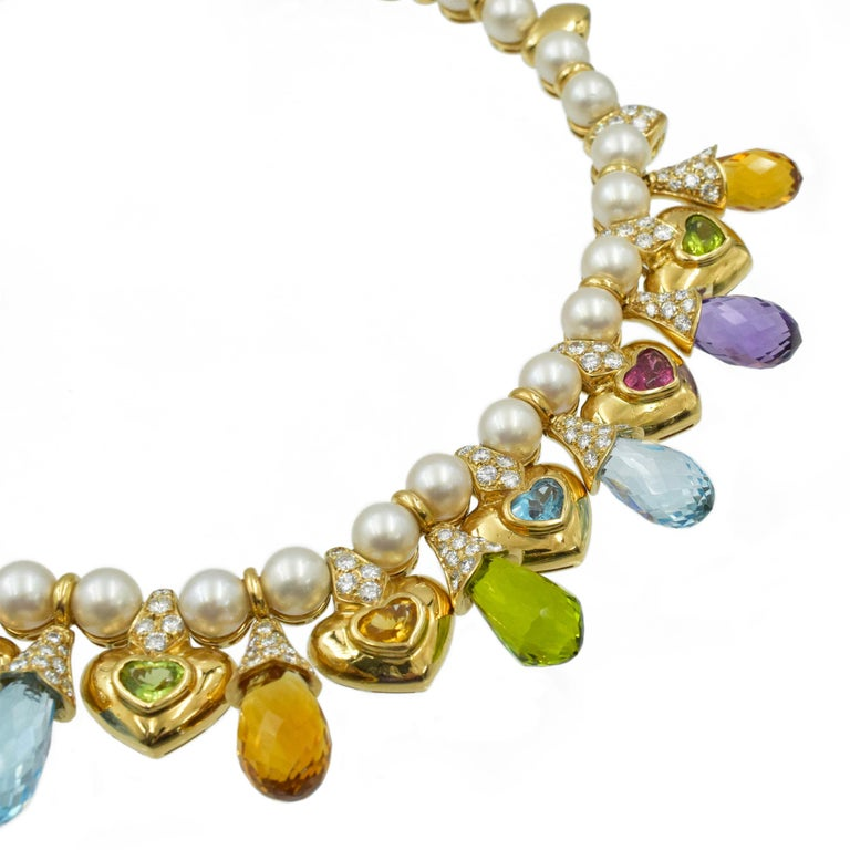 Moussaieff Pearl, Damond and Gemstone Necklace and Earring Set in 18k For Sale 1