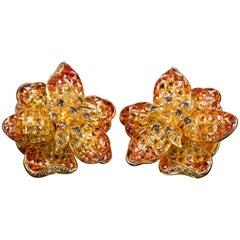 Moussaieff Gelber und Orangener Saphir Blumen Ohrclips