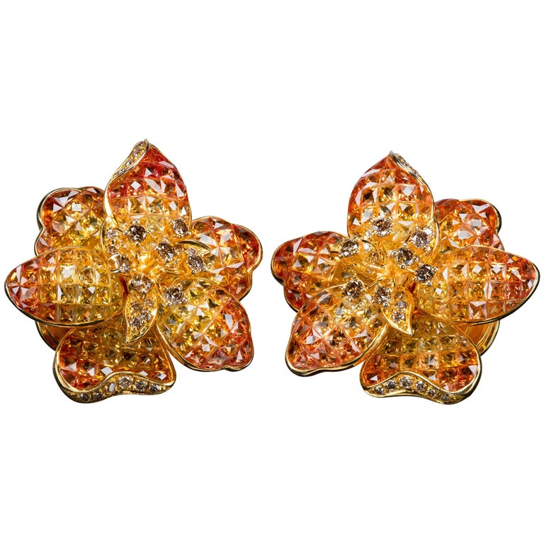 Moussaieff Yellow and Orange Sapphire Flower Ear Clips For Sale