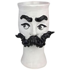 Moustached Handamde Ceramic Vase