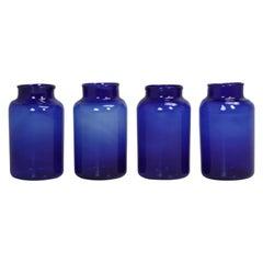 Mouth-Blown Cobalt Blue Large Glass Bottles, Set of Four