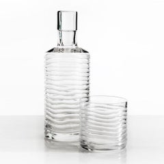 Hand-cut Crystal Glass Gift Set Decanter/ Carafe 2 Tumbler Handcrafted in Italy