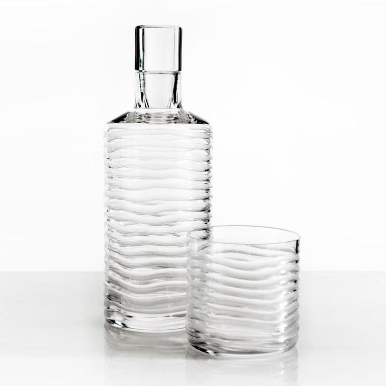 Contemporary Mouth Blown Handcut Crystal Whisky Decanter 2 Tumbler Set Handcrafted in Italy For Sale
