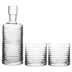 Mouth Blown Handcut Crystal Whisky Decanter 2 Tumbler Set Handcrafted in Italy