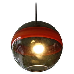 Mouth-Blown Translucent 'Smoke' Glass Pendant Light, Italy, circa 1955