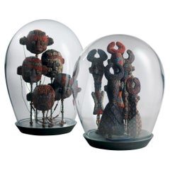 Mouthblown Glass Dome with 5 Fine Beaded Flutes, Grassland People, Cameroon