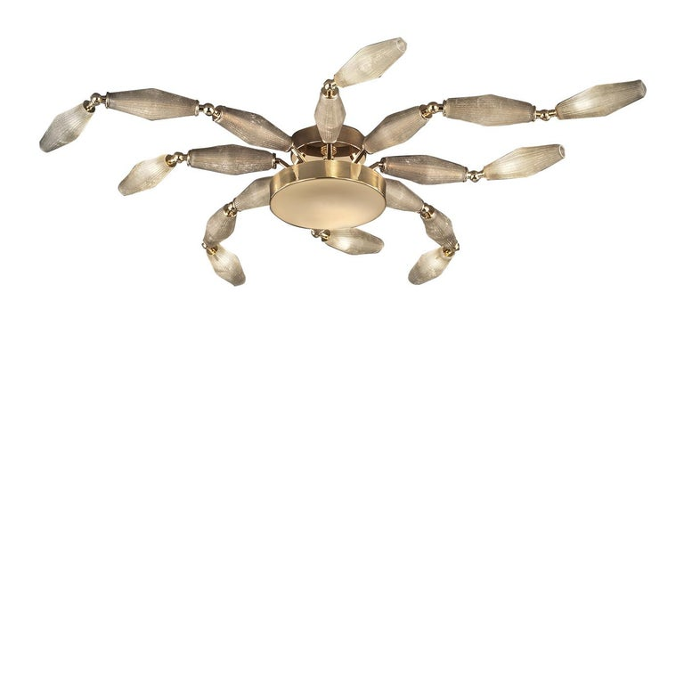 Inspired by the wooden marionette Pinocchio, this strikingly modern ceiling fixture provides graceful, visual impact without being overwhelming. The semi-flushed structure features a round ceiling mount from which a larger circular lamp hangs with 8