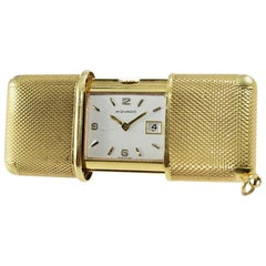 Movado 18 Karat Solid Gold Ermeto Date Travel Pocket Watch, circa 1950s