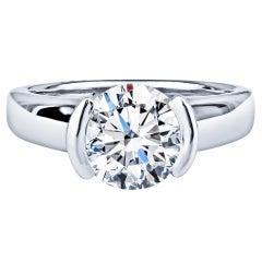 Movado 2.08 Carat Round Brilliant Diamond Ring, GIA Certified, Platinum