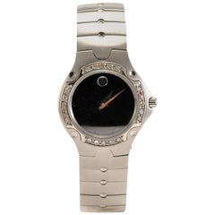 Movado 84 A1 1831 Women's Quartz Watch Stainless Steel Black Dial Diamond Bezel