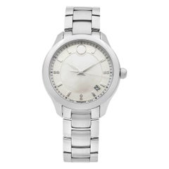 Movado Bellina Stainless Steel White Mother of Pearl Dial Ladies Watch 0606978