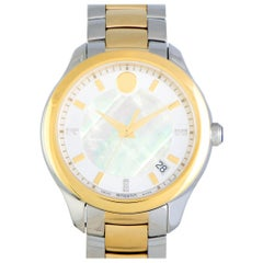 Movado Bellina Stainless Steel Yellow Gold PVD Mother of Pearl Watch 606979