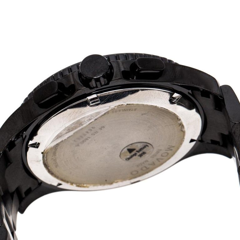 Movado Black PVD Coated Stainless Steel Men's Wristwatch 40 mm For Sale 2