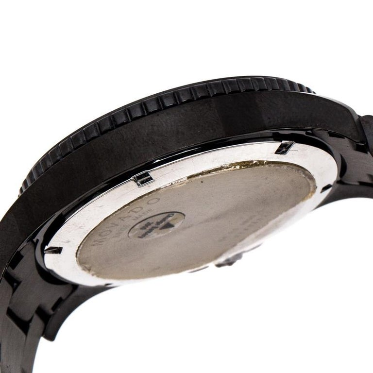 Movado Black PVD Coated Stainless Steel Men's Wristwatch 40 mm For Sale 3