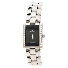 Movado Black Stainless Diamonds Eliro 84 C1 415 AS Women's Wristwatch 22 mm