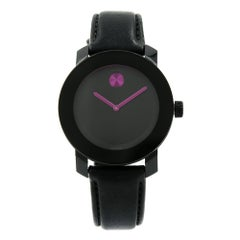 Movado Bold Black Dial Pink Accents Steel Plastic Ladies Quartz Watch 3600482