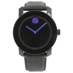 Movado Bold Black Dial Steel Plastic Leather Quartz Men's Watch 3600479