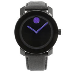 Movado Bold Black Dial Steel Plastic Leather Quartz Men's Watch 3600479
