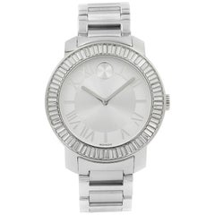 Movado Bold Luxe Baguette Crystal Bezel Stainless Steel Women's Watch 0134591