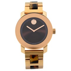 Movado Bold Rose Gold PVD Stainless Steel Brown Dial Quartz Ladies Watch 3600189