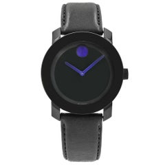 Movado Bold Satin Black Dial Purple Accents Plastic Steel Unisex Watch 3600479