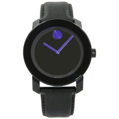 Movado Bold Steel Plastic Black Dial Purple Accents Quartz Unisex Watch 3600479