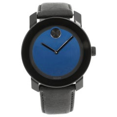 Movado Bold Steel Plastic Leather Blue Metallic Dial Quartz Men's Watch 3600481