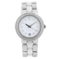 Movado Cerena White Ceramic Steel Diamond Bezel Quartz Ladies Watch 0606625